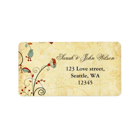 étiquette de adresse floral et de retour rouge