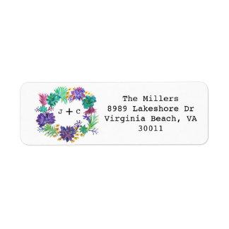 Étiquette de adresse floral et succulent de retour