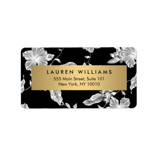 Étiquette de adresse floral noir élégant du motif