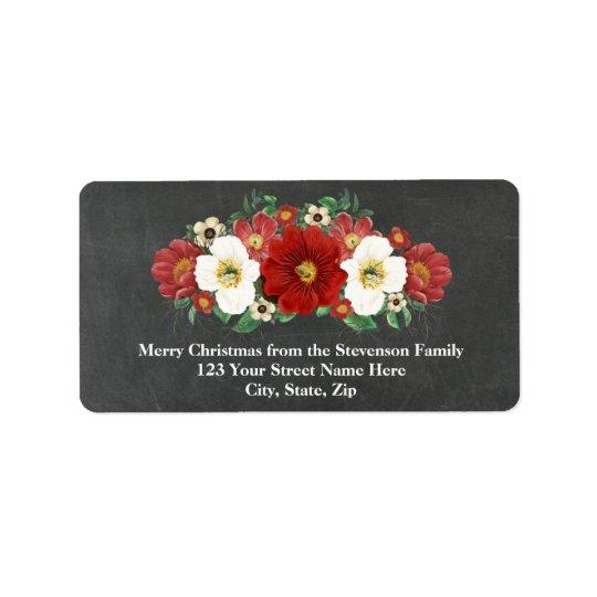Étiquette de adresse floral rouge de Noël de