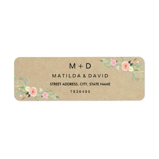 Étiquette de adresse floral rustique de mariage de