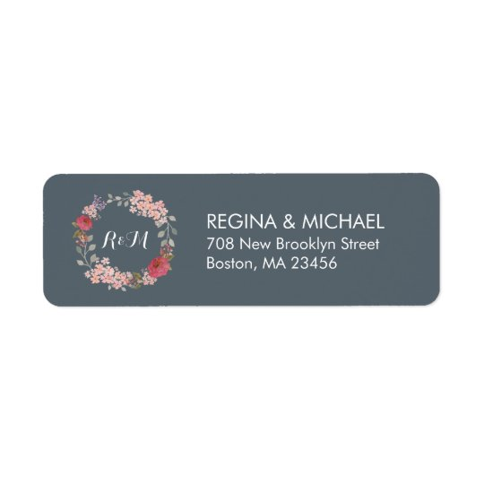 Étiquette de adresse floral rustique gris de