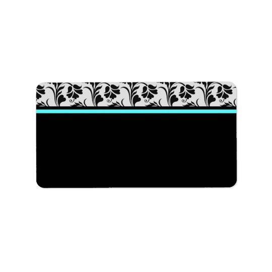 Étiquette de adresse floral turquoise argenté noir