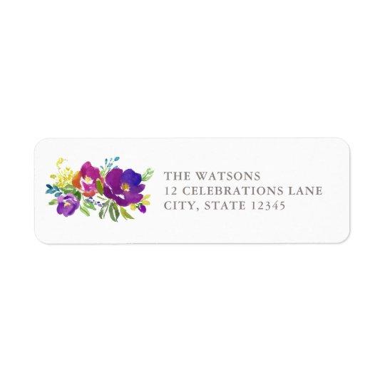 Étiquette de adresse floral violet romantique