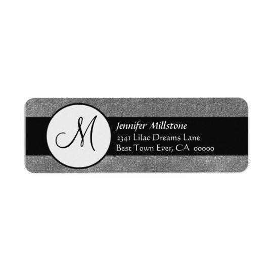 Étiquette de adresse gris et noir de monogramme de