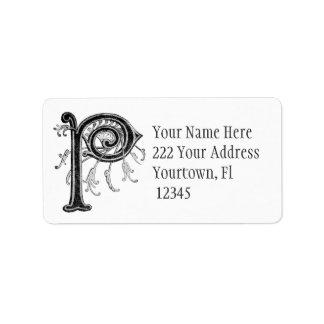 Étiquette de adresse initial du monogramme P