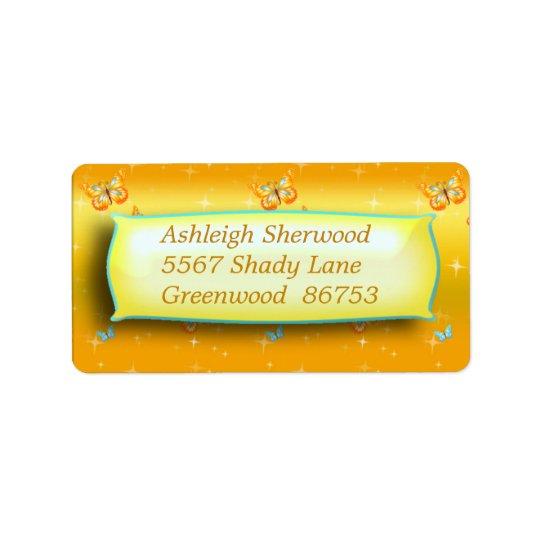 Étiquette de adresse jaune de papillon