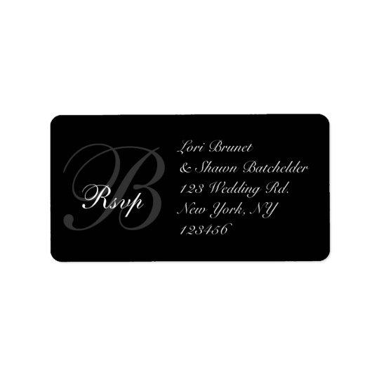 Étiquette de adresse l'épousant élégant de RSVP