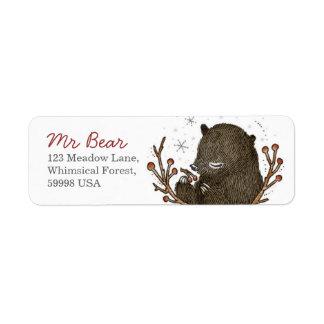 Étiquette de adresse lunatique de retour d'ours