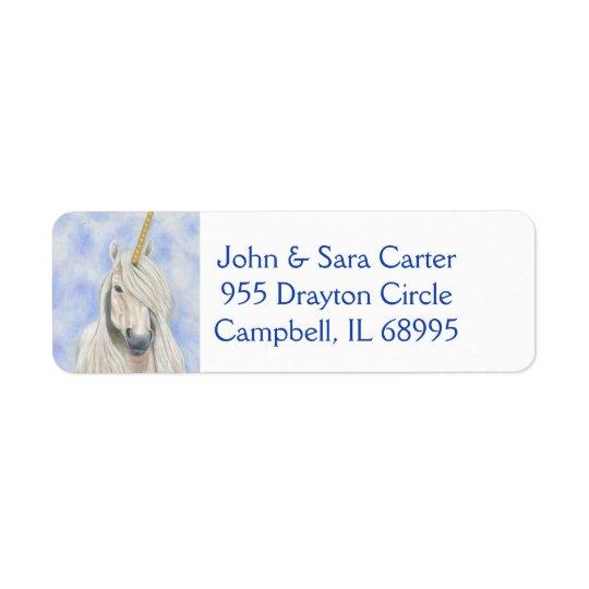 Étiquette de adresse majestueux de licorne