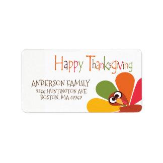 Étiquette de adresse mignon de bon thanksgiving de