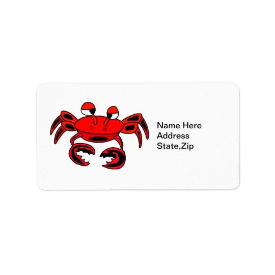 Étiquette de adresse mignon de crabe