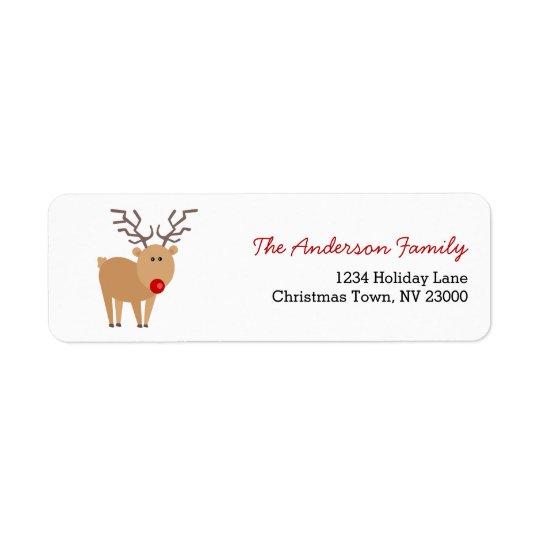 Étiquette de adresse mignon de Noël de renne de