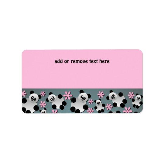 Étiquette de adresse mignon de pandas et de fleurs