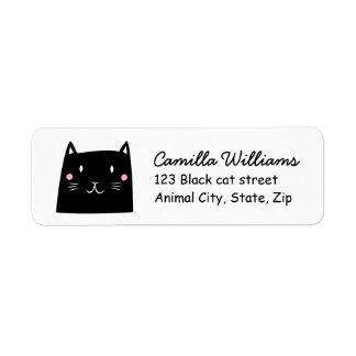 Étiquette de adresse mignon de retour de chat noir