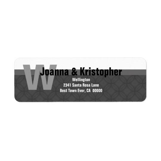 Étiquette de adresse moderne gris et blanc de la