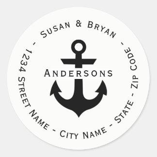 Étiquette de adresse nautique circulaire de retour