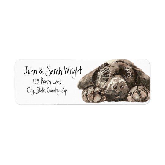 Étiquette de adresse noir de chien de labrador