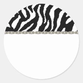 Étiquette de adresse noir et blanc de zèbre sticker rond