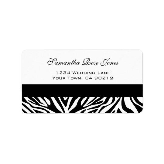Étiquette de adresse noir et blanc élégant de cout