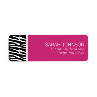 Étiquette de adresse noir et rose moderne de retou