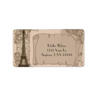 Étiquette de adresse parisien de sépia