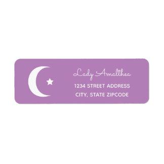 Étiquette de adresse pourpre de lune et d'étoile