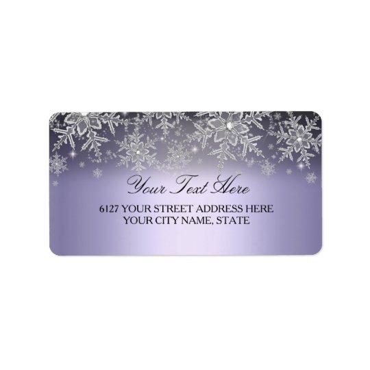 Étiquette de adresse pourpre d'hiver de flocon de