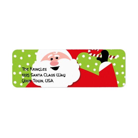 Étiquette de adresse rond de Père Noël