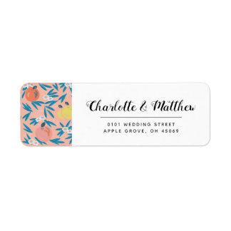 Étiquette de adresse rose de corail floral de