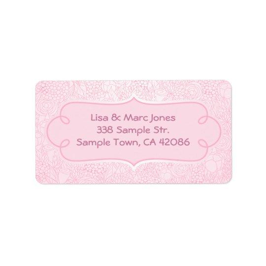 Étiquette de adresse rose de fleur