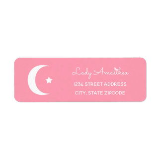 Étiquette de adresse rose de lune et d'étoile