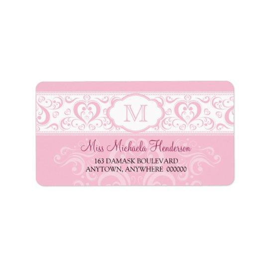 Étiquette de adresse rose de monogramme de damassé