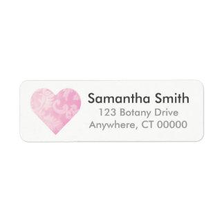 Étiquette de adresse rose de retour de coeur de