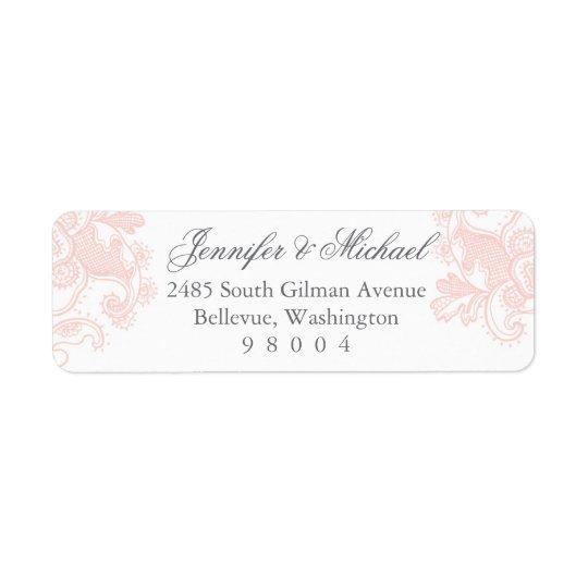 Étiquette de adresse rose élégant de dentelle