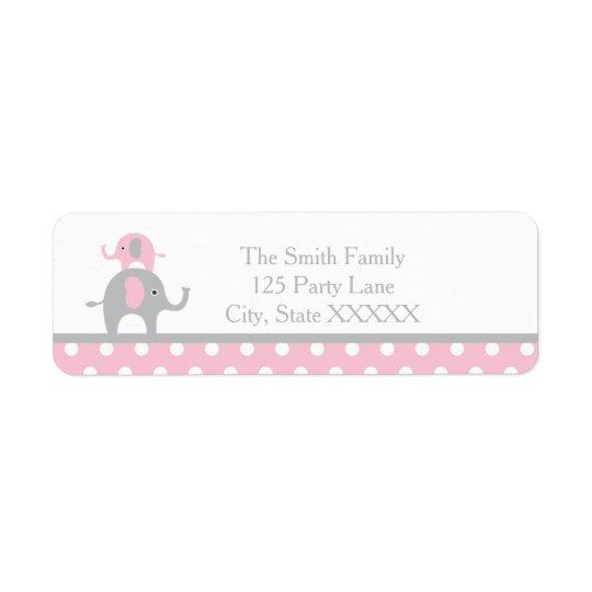 Étiquette de adresse rose et gris de retour