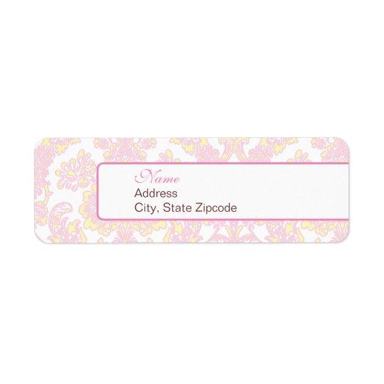 Étiquette de adresse rose et jaune élégant de