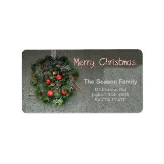 Étiquette de adresse rouge de Joyeux Noël de