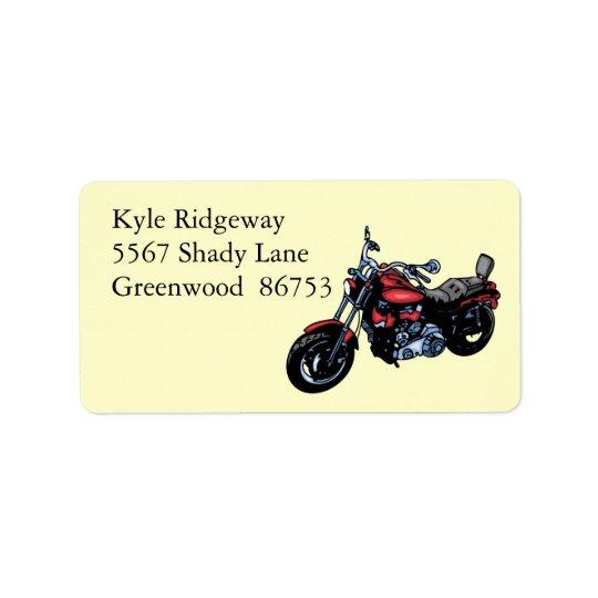 Étiquette de adresse rouge de moto
