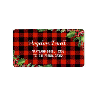 Étiquette de adresse rouge de Noël de plaid
