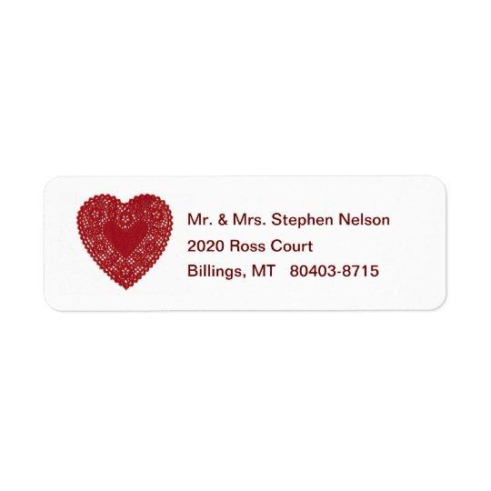 Étiquette de adresse rouge de retour de coeur de