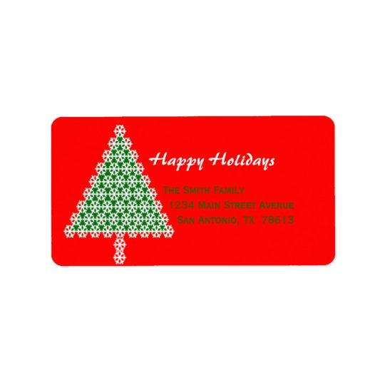 Étiquette de adresse rouge de retour de Noël