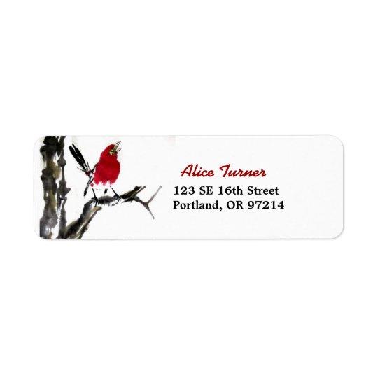 Étiquette de adresse rouge de retour d'oiseau
