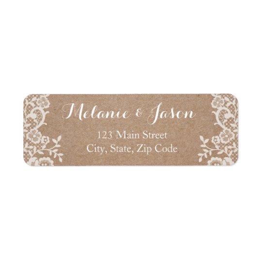 Étiquette de adresse rustique de retour de mariage