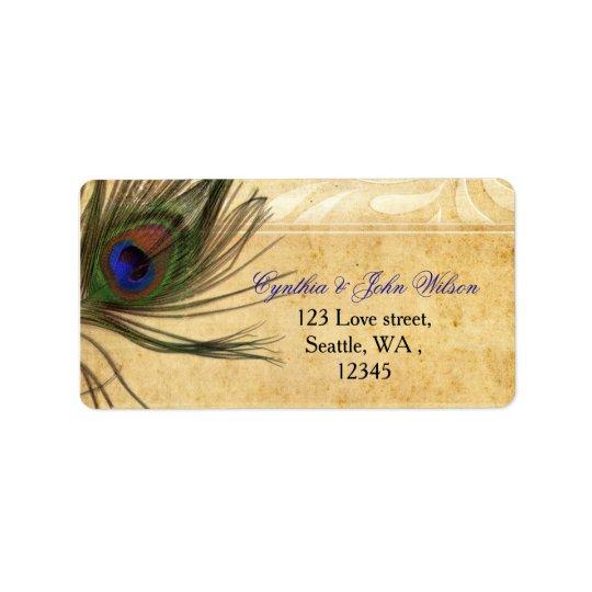 Étiquette de adresse rustique de retour de plume
