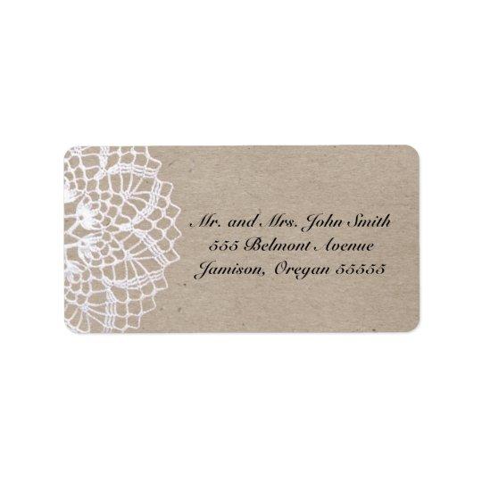 Étiquette de adresse rustique vintage de napperon