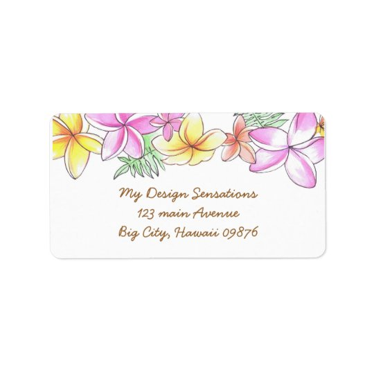 Étiquette de adresse tropical de Lei, fleurs de Pl