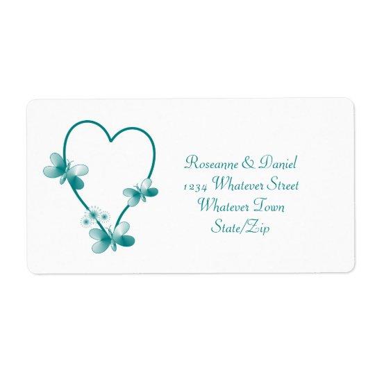 Étiquette de adresse turquoise de coeur et de papi
