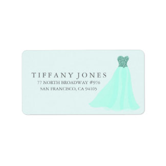 Étiquette de adresse turquoise en bon état de robe