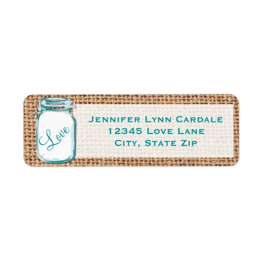 Étiquette de adresse turquoise rustique de mariage
